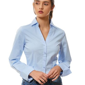 Long Sleeve Button Down V Neck Shirt with Stretch (CLEARANCE)