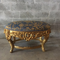 """Baroque Bench Italian Rococo Bed Bench Heavy Floral Carving Damask Fabric Gold Blue Gold Leaf Gild Louis XVI 41""""W x 24""""H x 26""""D"""