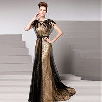 Luxury Golden Formal Evening Dress 2016 Sexy Sparkly Sequin Mermaid Tulle Floor-Length Party Prom Gown Plus Size robe de soiree