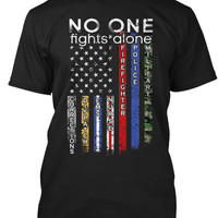 No One Fights Alone USA Flag Thin Line