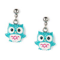 Blue Glitter Owl Drop Earrings