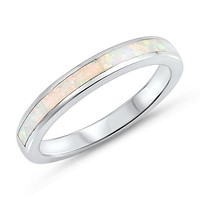 Sterling Silver White Opal Inlay Half Band