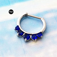 Nose Hoop Jewelry,Sapphire Blue Crystals SEPTUM CLICKER, stainless steel, 16 gauge, nose ring, body piercing
