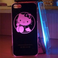 Smiling Deals Flash Light Case Cover for Apple Iphone 5 LED LCD Color Changed - Black - Hello Kitty + a Screen Protector and a Stylus As Gifts