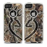 The Black Connecting Heart Deer Icon on Camouflage Skin For The iPhone 4-4s or 5-5s Otterbox Commuter Case