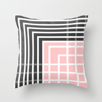 Square - Pink and Grey Throw Pillow by MJ Mor