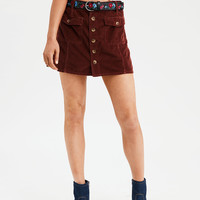 AE High-Waisted Festival Corduroy Skirt, Brown