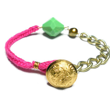 Gold plated matte chain pink cord floss friendship bracelets huge green crystal gold pearl button clasp indie hipster anthropologie inspired