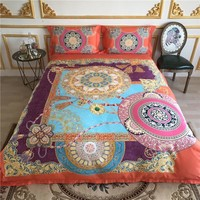 80S Egyptian Cotton Orange Pink Blue color Mandala Bedding set Bed sheet set Queen King size Duvet cover Bedclothes  Pillowcase