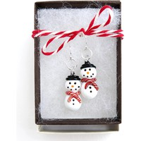 Snowman Earrings - Glass and .925 Sterling Silver - Lampwork Glass Snowman - Christmas Jewelry - Holiday Earrings - Winter