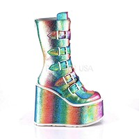 "Swing 230 Rainbow Hologram Calf Boot 5.5"" Platform Heart Strap Design"