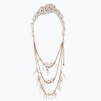 Back necklace with pearls