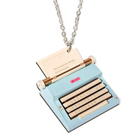 Vintage Typewriter Necklace, Green or Blue