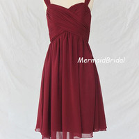 Cheap Burgundy bridesmaid dress, Tea length bridesmaid dress, wedding party dress