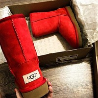 UGG Winter Trending Women Men Stylish Warm Wool Fur High Snow Boots Red I/A