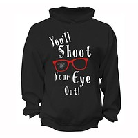 XtraFly Apparel Men's Winter You'll Shoot Your Eye Out Glasses Ugly Christmas Hooded-Sweatshirt Pullover Hoodie