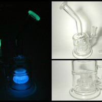 Glow in the Dark Glass Water Tube - 14mm Glass on Glass Disk Perc