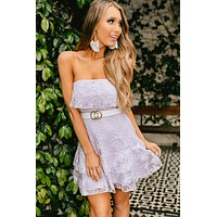 Searching For Love Strapless Lace Dress (Lavender)