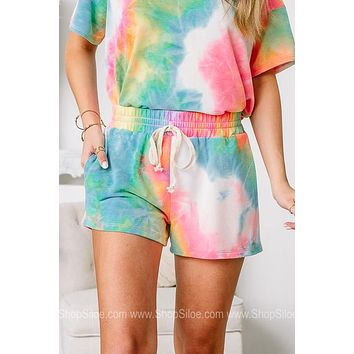 Chasing That Neon Rainbow Tie Dye Elastic Shorts