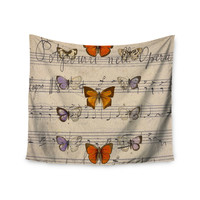 """Suzanne Carter """"Butterfly Opera"""" Music Tan Wall Tapestry"""