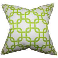 The Pillow Collection P18-PP-GOTCHA-WHITE_CHARTREUSE Qishn Green 18 x 18 Geometric Throw Pillow
