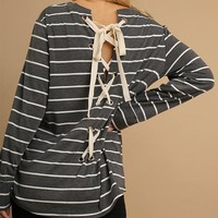 Grey Striped Top Lace Up Back
