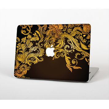 """The Gold Floral Vector Pattern on Black Skin for the Apple MacBook Air 13"""""""