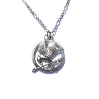 Peeta's Pearl Necklace - Hunger Games Inspired - Freshwater Pearl, Mocking Jay Pendant Necklace
