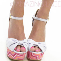 RESTOCKED! Fruit Punch Chevron Pink Lilac Wedge Sandal