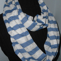 Stripe Infinity Scarf Knit Fabric Denim and Shiny Lace Ecru and Blue Stripes Infiniti Gift Under 25