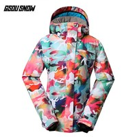 GSOU SNOW Brand Skiing Jackets Women Ski Snowboard Coats Winter Snowboarding Hooded Outdoor Snow Clothing Cheap Ladies Skiwear