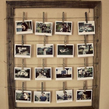 Mini Clothespins and Wire or Twine Hanging Picture Frame - 18x24 / 20x24 / 20x30