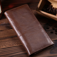 womens mens retro genuine leather long wallet handmade card hold purse 07