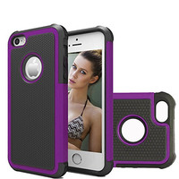 iPhone 5 Case iPhone 5s Case Akimoom [Jade Series] PC + Silicone Trendy Defender Nonslip Scratch Resistant Dust-proof Heavy Duty Hybrid Dual Layer Hard Protective Case for iPhone 5(Black/Purple)