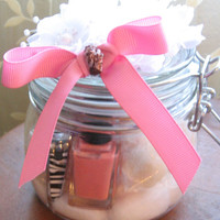 Pedicure in a Jar-Pedi- For the Bride- Bridal Shower Gift-Gift from Maid of Honor-Pint Size Jar-Wedding Gift-Adorable Spa in a Jar Bath Soak