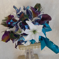 Dendrobium Orchid Bouquet-Peacock Feather Wedding Bouquet-Calla Lily Bouquet-Made To Order