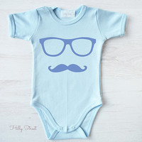 Cute Hipster Baby One Piece. Mustache Outfit. Baby Boy Clothes. Hipster Baby Bodysuit. Baby Shower Gift.