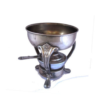 Vintage table top food warmer. Tabletop metal stand with burner. Serving caddy. Plant holder. Plant stand.Silver plated pewter.