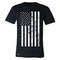 Zexpa Apparel™ Distressed White American Flag Men's T-shirt Patriotic July,4 Tee