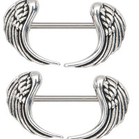 Body Accentz® Nipple Ring Angel Wings bar body Jewelry sold as Pair 14g 1/2""