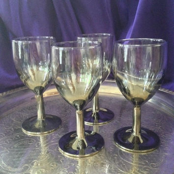 Silver Ombre Wine Glasses, Thorpe Style Mercury Glass Stems, Mid Century Barware, Chrome Colored Liqueur Glasses, France, Set of Four