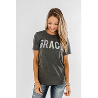 """""""Grace"""" Graphic Tee- Charcoal"""