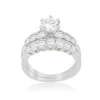 Melia Round Cut Engagement and Wedding Ring Set | 3ct | Cubic Zirconia | Silver