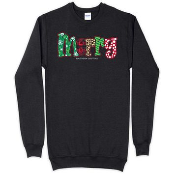 Southern Couture Merry Pattern Holiday Long Sleeve Sweatshirt