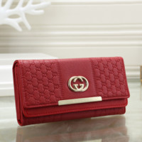 Gucci Women Fashion Leather Shopping Wallet Purse