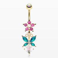 Golden Butterfly Flower Sparkle Belly Button Ring