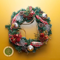 Red Holiday Wreath Red Christmas Wreath Pine Wreath Holiday Decor Christmas Gift Snowflake Ornaments Christmas Gift Wreaths under 100