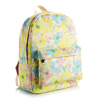 Animal Cute Korean Canvas Stripes Lovely Floral Striped Backpack = 4888025348