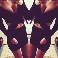 Women Sexy V Neck Nightclub Clubbing Party Erotic One Piece Dress _ 11346