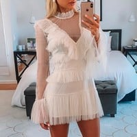 Vintage mesh polka dot white dress women Ruffle long sleeve dresses ladies Elegant short party dresses vestidos